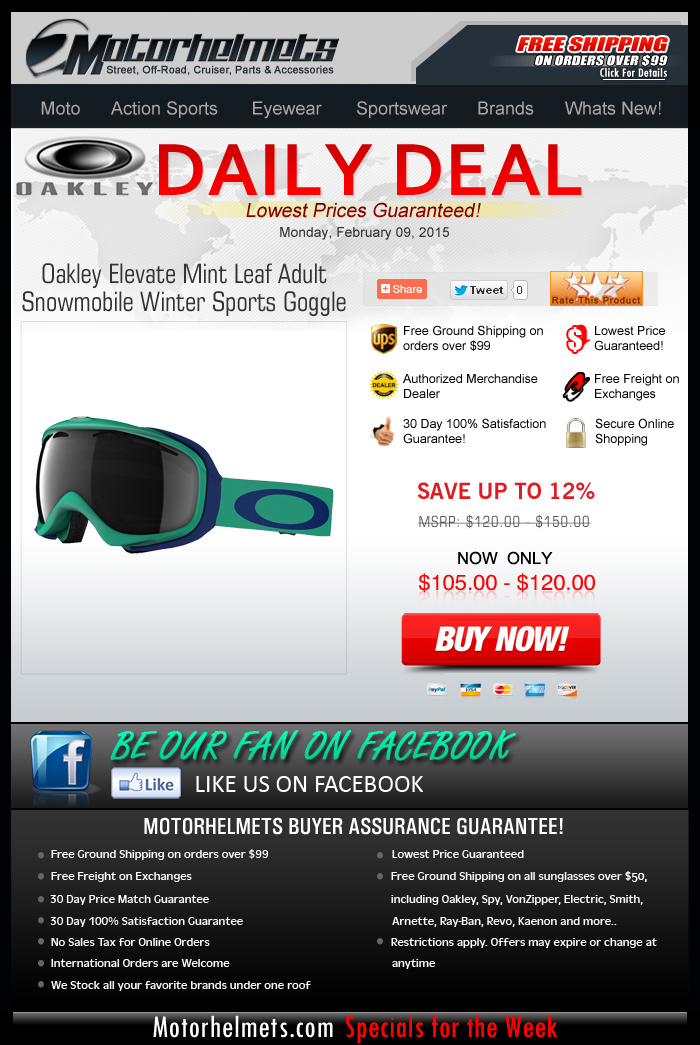 Monday Specials: $15 Savings on Oakley's Elevate Goggles!