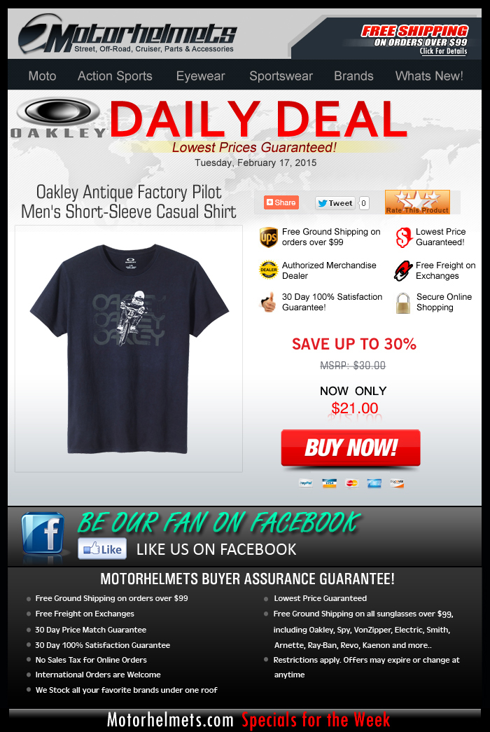 Oakley Antique Factory Pilot Tee, for only $21!