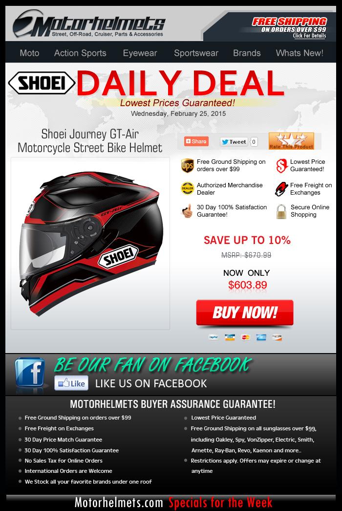 Wednesday Deal: Shoei GT-Air Helmet at 10% Off!