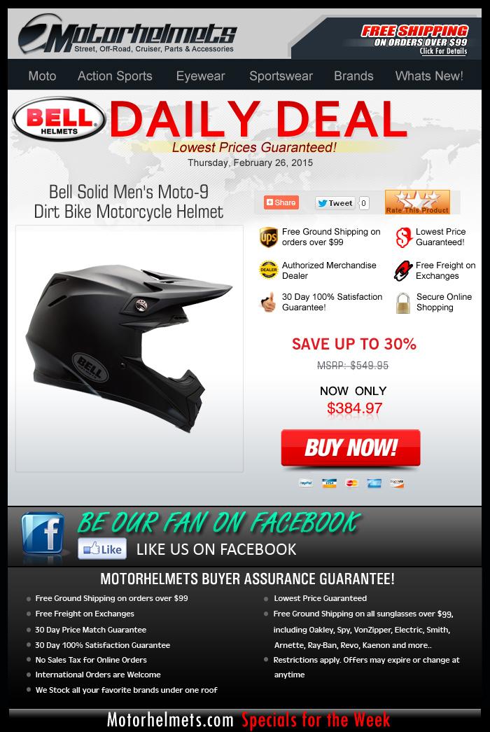 Thursday Specials...HUGE Savings on the Bell Moto-9 Helmet!