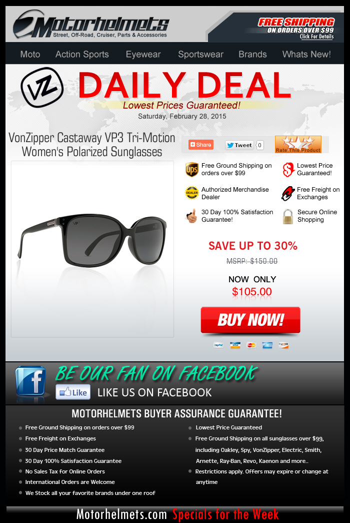 Weekend Special: Up to $45 Off on the VZ Castaway Shades!