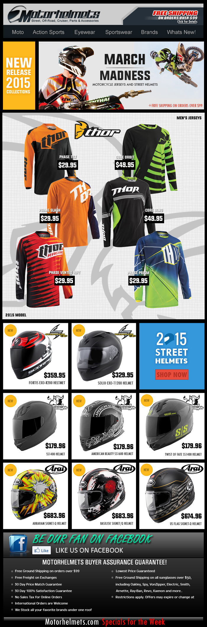 March Madness..New Helmets and Jerseys from ThorMX, Scorpion and Arai!