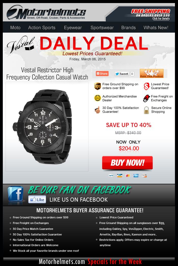 Markdown Alert! Vestal Restrictor Watch, down to $136.00!
