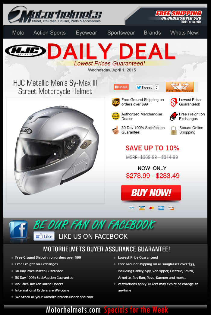 $30 Savings on HJC's Sy-Max III Helmet!