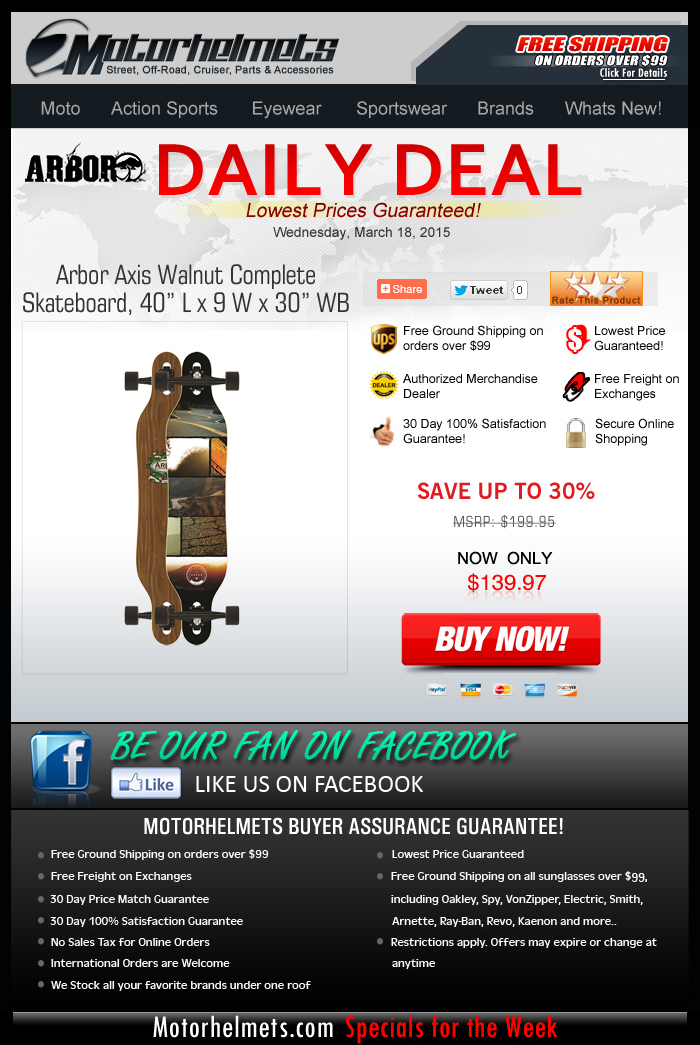 Take $60 Off the Arbor Axis Complete Skateboard...Our Treat!