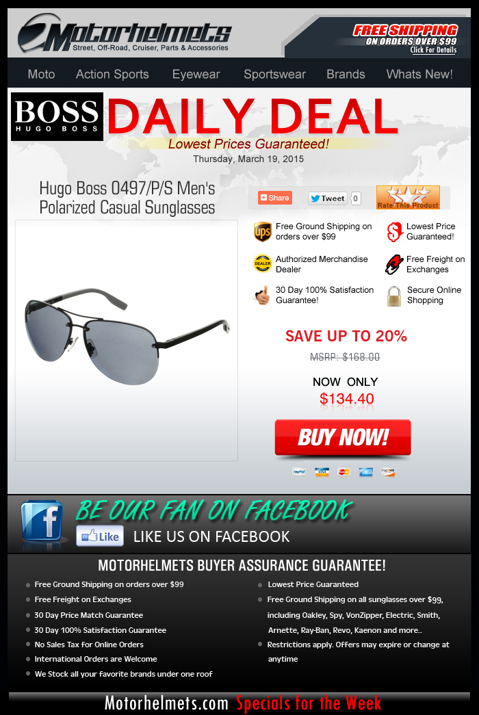 Get 20% Off on a Hugo Boss Polarized Eyewear!