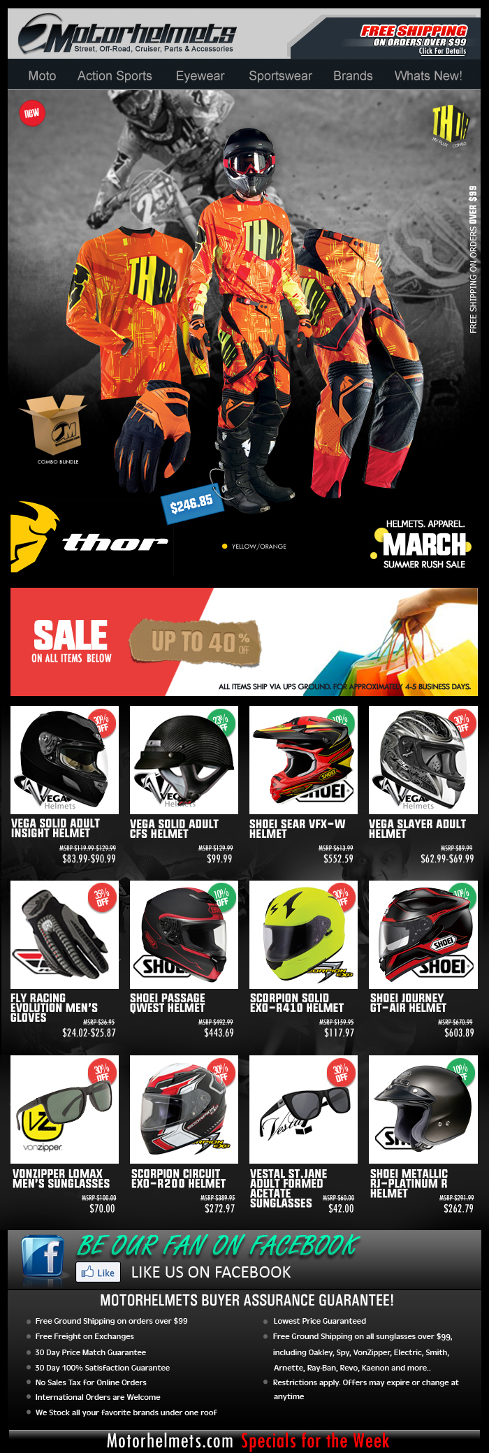 Up to 40% Off on Vega, Shoei and Fly Gear and Apparel!