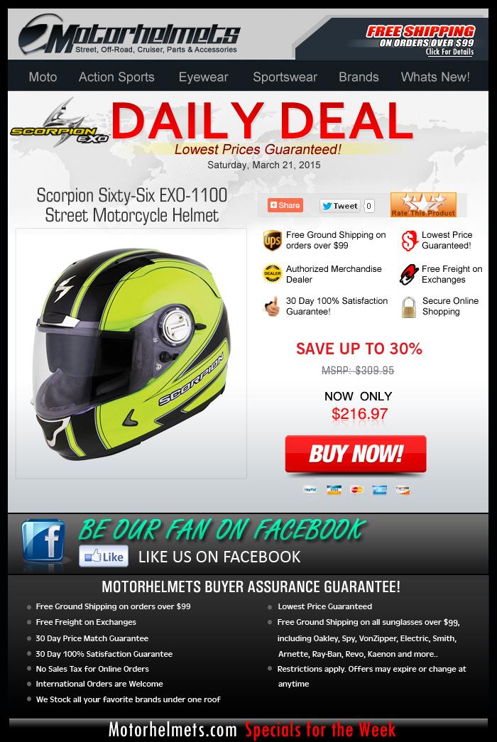 Get the Scorpion EXO-1100 Helmet at $90 Off!