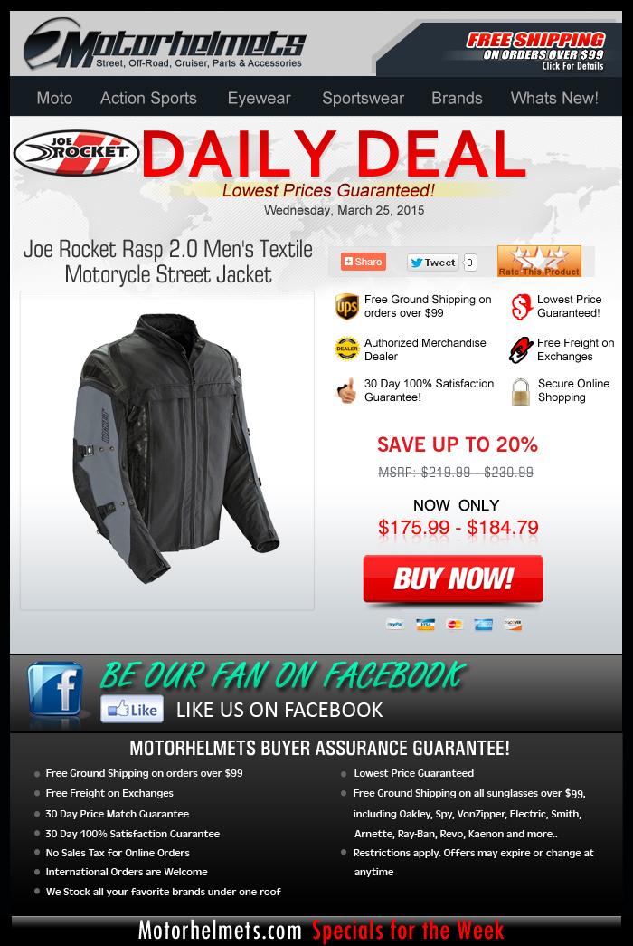 Mid-Week Specials: Save 20% on Joe Rocket's Rasp 2.0 Jacket!