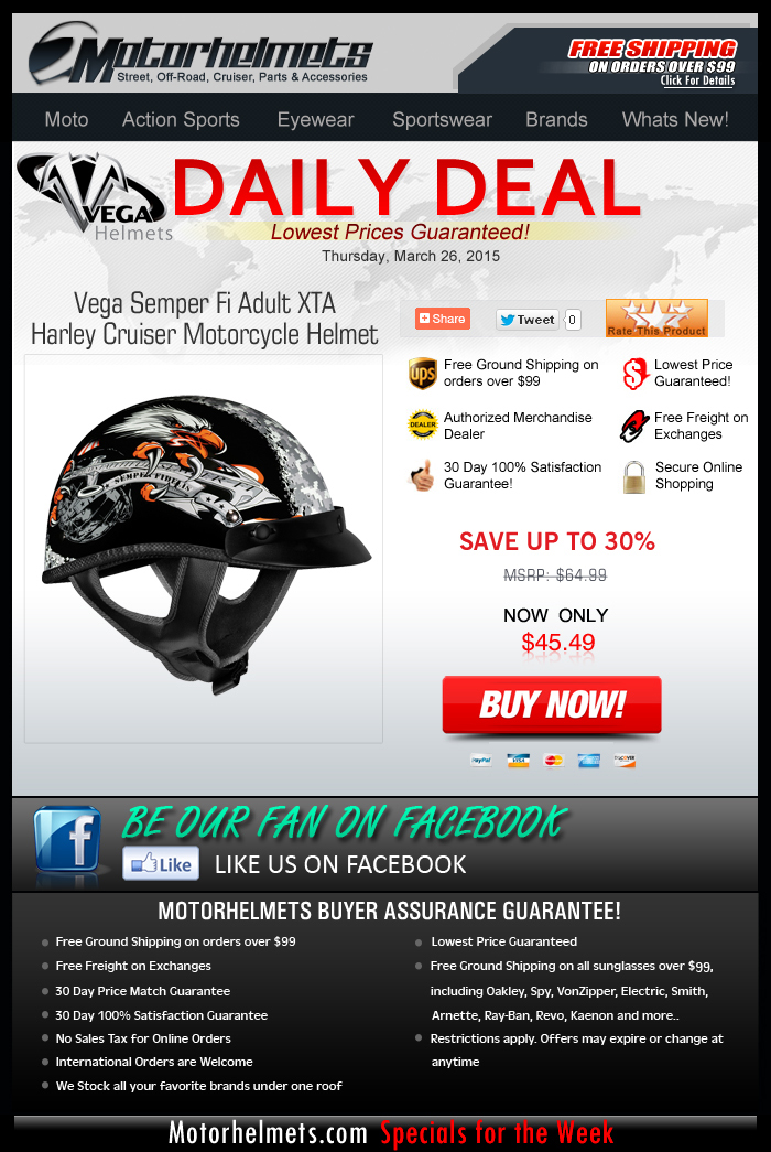 Deal of the Day from Vega: Helmets for only $45!