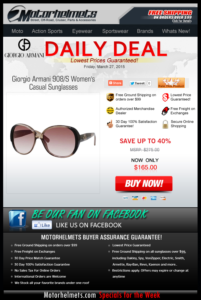 Hooray for Friday! Save over $100 on an Armani Eyewear!