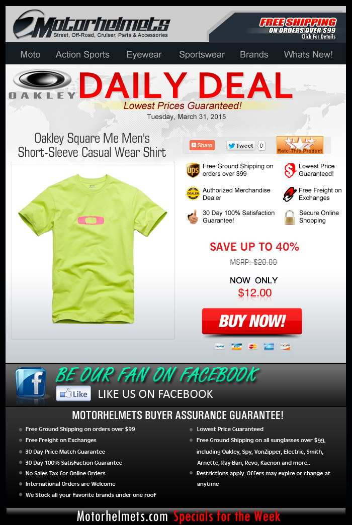 Oakley Tees for as low as $12!