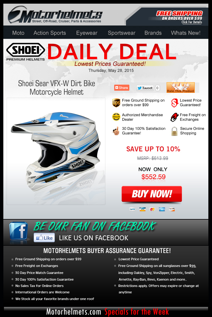 Save Over $60 on SHOEI's Sear VFX-W Helmet!
