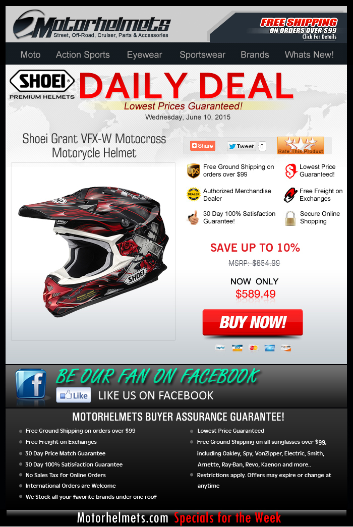 Get 10% Discount on the SHOEI Grant VFX-W Helmet!