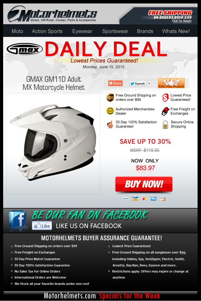 Save Over $30 on the GMAX GM11D Helmet!