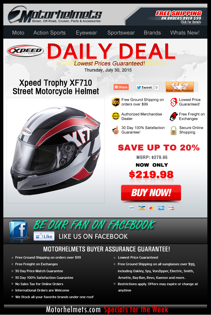 Save up to 20% of Xpeed Trophy XF710 Helmet - Daily Deal