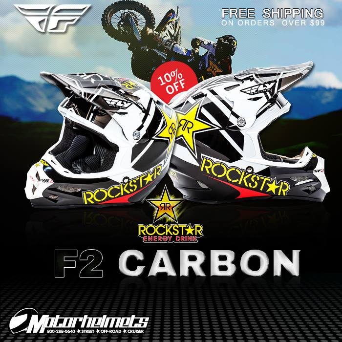 Fly Racing F2 Carbon Rockstar Adult Motocross Helmet