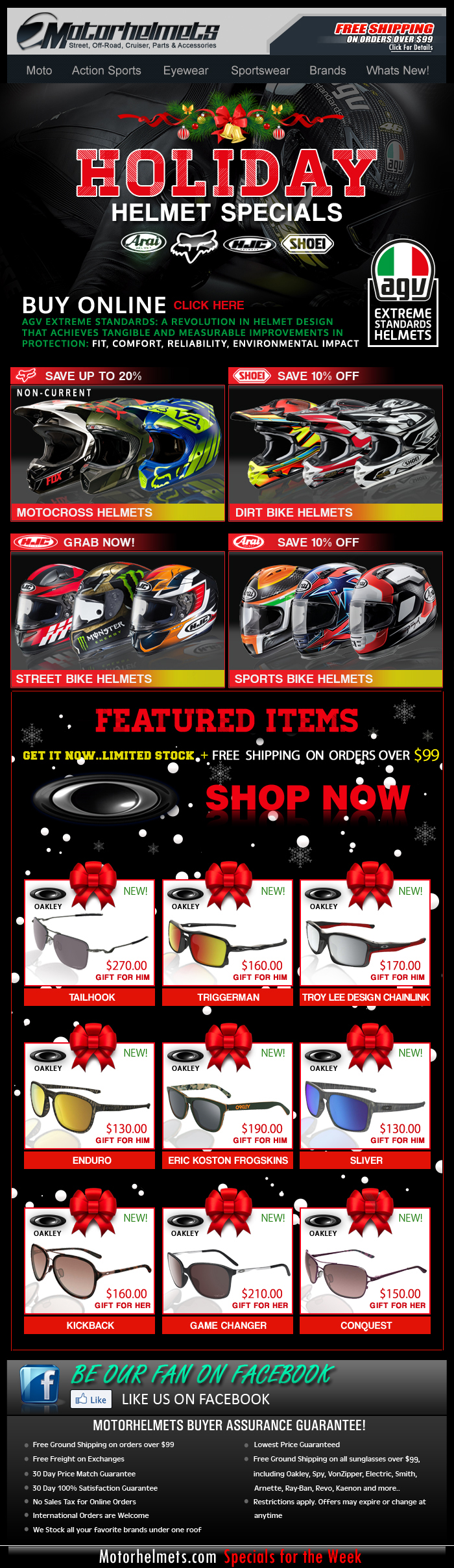 Holiday Helmet Specials...Up to 20% Off on Select Brands!