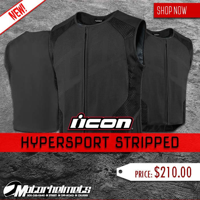 Icon Hypersport Stripped Men's Leather-Mesh Vest